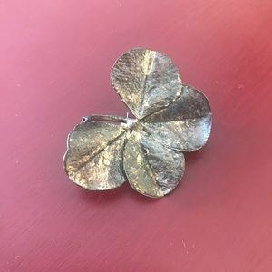 Flora Danica vintage sterling four leaf clover pin